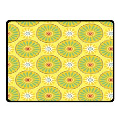 Sunflower Floral Yellow Blue Circle Double Sided Fleece Blanket (Small)