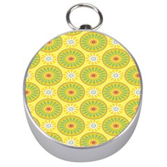 Sunflower Floral Yellow Blue Circle Silver Compasses