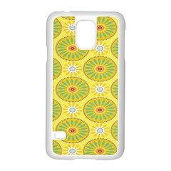 Sunflower Floral Yellow Blue Circle Samsung Galaxy S5 Case (White)