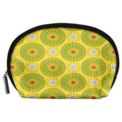 Sunflower Floral Yellow Blue Circle Accessory Pouches (Large)