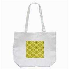 Sunflower Floral Yellow Blue Circle Tote Bag (White)