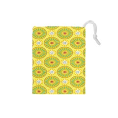 Sunflower Floral Yellow Blue Circle Drawstring Pouches (Small)