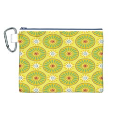 Sunflower Floral Yellow Blue Circle Canvas Cosmetic Bag (L)