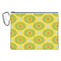 Sunflower Floral Yellow Blue Circle Canvas Cosmetic Bag (XXL)