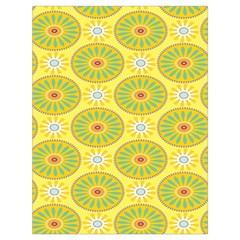 Sunflower Floral Yellow Blue Circle Drawstring Bag (Large)