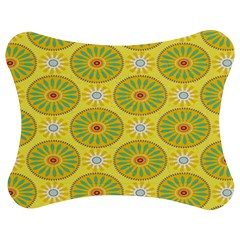 Sunflower Floral Yellow Blue Circle Jigsaw Puzzle Photo Stand (bow)