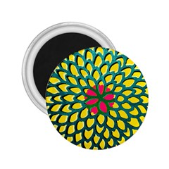 Sunflower Flower Floral Pink Yellow Green 2.25  Magnets
