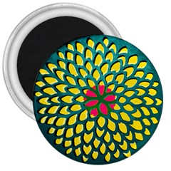 Sunflower Flower Floral Pink Yellow Green 3  Magnets