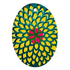Sunflower Flower Floral Pink Yellow Green Ornament (oval)