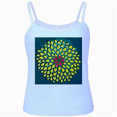 Sunflower Flower Floral Pink Yellow Green Baby Blue Spaghetti Tank