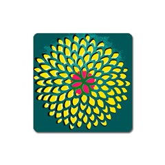 Sunflower Flower Floral Pink Yellow Green Square Magnet