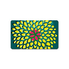 Sunflower Flower Floral Pink Yellow Green Magnet (name Card)