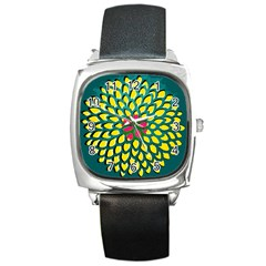 Sunflower Flower Floral Pink Yellow Green Square Metal Watch