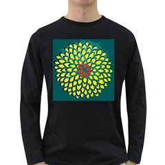 Sunflower Flower Floral Pink Yellow Green Long Sleeve Dark T-Shirts