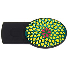 Sunflower Flower Floral Pink Yellow Green USB Flash Drive Oval (4 GB)
