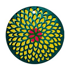 Sunflower Flower Floral Pink Yellow Green Round Ornament (Two Sides)