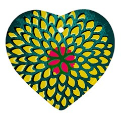 Sunflower Flower Floral Pink Yellow Green Heart Ornament (Two Sides)