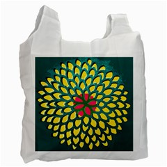 Sunflower Flower Floral Pink Yellow Green Recycle Bag (Two Side)