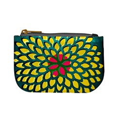 Sunflower Flower Floral Pink Yellow Green Mini Coin Purses