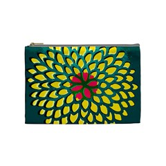 Sunflower Flower Floral Pink Yellow Green Cosmetic Bag (Medium)