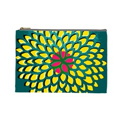 Sunflower Flower Floral Pink Yellow Green Cosmetic Bag (Large)