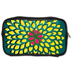 Sunflower Flower Floral Pink Yellow Green Toiletries Bags 2 Side