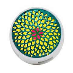 Sunflower Flower Floral Pink Yellow Green 4-Port USB Hub (One Side)