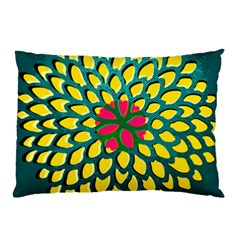 Sunflower Flower Floral Pink Yellow Green Pillow Case (Two Sides)