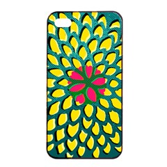 Sunflower Flower Floral Pink Yellow Green Apple iPhone 4/4s Seamless Case (Black)