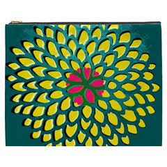 Sunflower Flower Floral Pink Yellow Green Cosmetic Bag (XXXL)