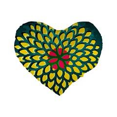 Sunflower Flower Floral Pink Yellow Green Standard 16  Premium Heart Shape Cushions