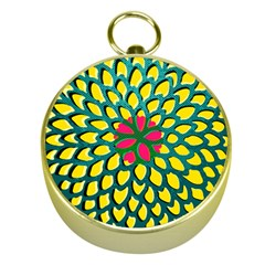Sunflower Flower Floral Pink Yellow Green Gold Compasses