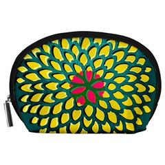 Sunflower Flower Floral Pink Yellow Green Accessory Pouches (Large)