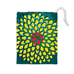 Sunflower Flower Floral Pink Yellow Green Drawstring Pouches (Large)