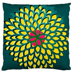Sunflower Flower Floral Pink Yellow Green Standard Flano Cushion Case (Two Sides)