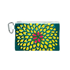 Sunflower Flower Floral Pink Yellow Green Canvas Cosmetic Bag (S)