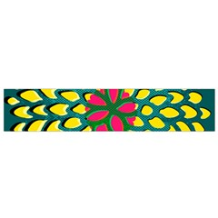 Sunflower Flower Floral Pink Yellow Green Flano Scarf (Small)