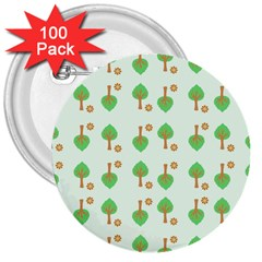 Tree Circle Green Yellow Grey 3  Buttons (100 pack)