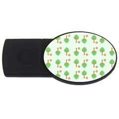 Tree Circle Green Yellow Grey USB Flash Drive Oval (2 GB)