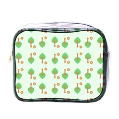 Tree Circle Green Yellow Grey Mini Toiletries Bags