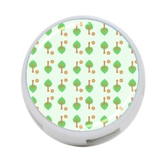 Tree Circle Green Yellow Grey 4-Port USB Hub (Two Sides)