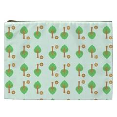 Tree Circle Green Yellow Grey Cosmetic Bag (XXL)