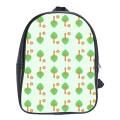 Tree Circle Green Yellow Grey School Bags (XL)