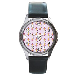 Tree Circle Purple Yellow Round Metal Watch