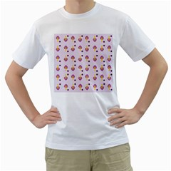 Tree Circle Purple Yellow Men s T Shirt (white) (two Sided)