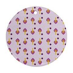 Tree Circle Purple Yellow Round Ornament (Two Sides)