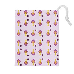 Tree Circle Purple Yellow Drawstring Pouches (Extra Large)