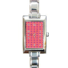 Roll Circle Plaid Triangle Red Pink White Wave Chevron Rectangle Italian Charm Watch