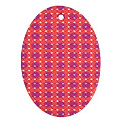 Roll Circle Plaid Triangle Red Pink White Wave Chevron Ornament (Oval)