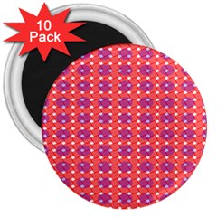 Roll Circle Plaid Triangle Red Pink White Wave Chevron 3  Magnets (10 pack)